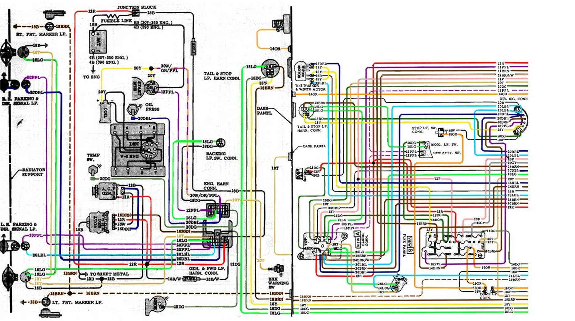 Mercedes 350 Sl 350 Slc 450 Sl 450 Slc 1973 Color Wiring Diagram 11x17