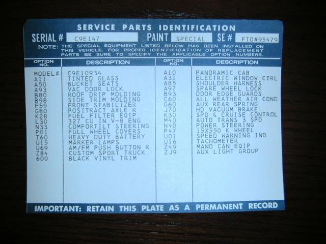67-72 Chevy truck SPID Labels - SPID label font